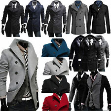 Men's Trench Warmer Coat Winter Long Jacket Double Breasted Overcoat 4 Styles