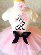 Cowgirl Cow Print Light pink 2nd Birthday Shirt Tutu Outfit Set girl party dress