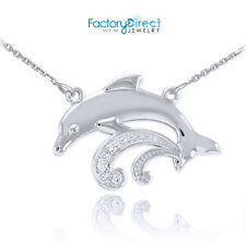 Sterling Silver Dolphin Beluga CZ Necklace