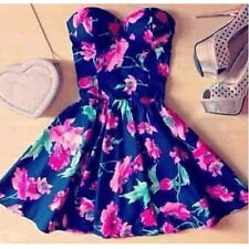 Summer Casual Women Girl Strapless Bodycon Flower Floral Dress Princess Dresses