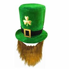 IRISH LEPRECHAUN ST PATRICKS FANCY DRESS EIRE PARTY GREEN VELVET HAT WITH BEARD
