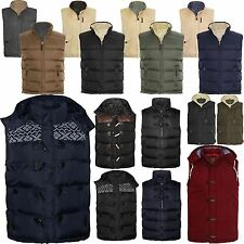 MENS SLEEVELESS BODY WARMER GILET JACKET LINING QUILTED PADDED HOODED M-3XL