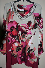 JM Collection Plum or Teal Prime Floral 3/4 Sleeve Studded Tunic L, XL, PXL, PS