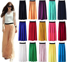 Women Double Layer Chiffon Pleated Retro Elastic Waist Skirt Long Maxi Dress AD