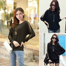 Sexy Women Loose Long Sleeve Korean Stylish T-Shirt Round Neck Pullover Sweater