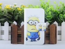 Hot Cartoon Minions Despicable me PU Leather Flip Case Cover For Lenovo Phone 05