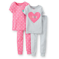 "Carter's Girls 4 Piece Cotton Pajama with ""Love to Dream"" and Heart Printed Tops"