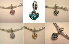 Auth. 925 Silver Pave Heart Dangle Charm Teal Blue Black Pink Purple Birthstones