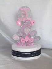 *CASCADING BALLOONS WITH RIBBON* CAKE TOPPER ANY NAME/ANY COLOUR & AGES 1 - 100