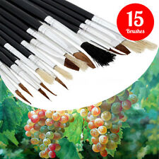 NEW 15 ARTIST BRUSHES SET- Assorted Size Drawing Colouring Tipped Kids School