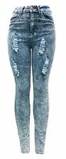 ELLA Jeans High Waisted ACID Light Wash Distressed Skinny Denim Women Bottom