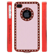 Apple iPhone 4 4S Gem Crystal Rhinestone Pink Leather case