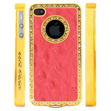 Gem Crystal Rhinestone Dark Pink Dimple Leather Case For Apple iPhone 4 4S 4G