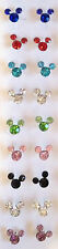 MICKEY MOUSE MINNIE MOUSE CRYSTAL EARRINGS IN 8 COLORS,FINE 925 STERLING SILVER