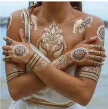 Metallic Shimmer Temporary Tattoos Body Art Tatts Silver Gold Bracelet Jewellery