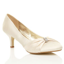 WOMENS WEDDING BRIDAL LADIES PROM LOW HEEL BRIDESMAID EVENING COURT SHOES SIZE