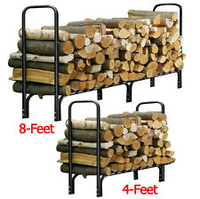 4FT / 8FT Outdoor Heavy Duty Steel Firewood Log Rack Wood Storage Holder Black