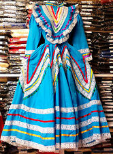 Womens Jalisco Dress With Super Wide Skirt Flow Folklorico Dance Handmade New