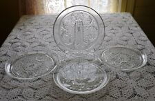 """FOUR Vintage Anchor Hocking Clear Sandwich Glass 9"""" Luncheon Snack Plates"""