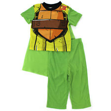 TMNT Teenage Mutant Ninja Turtles Boys Green Poly Pajamas with Cape NJ074BSL