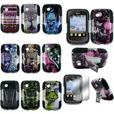 For LG 306G Tracfone Hybrid Hard T-Stand Dual Armor Snap On Case Cover Design2