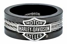 Harley-Davidson Men's Ring, Bar & Shield Steel Cable Band, Black HSR0021