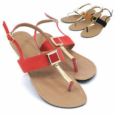 Womens T-Strap Slingback Sandals Gladiator Roman Thongs Flip Flops Flat Shoes