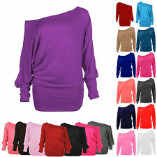 New Ladies Plus Size Off Shoulder Baggy Batwing Long Sleeve Slouch Dress Top8-24