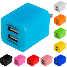 Color 2 Port Fast Dual Wall Home Travel Charger Cube for Cell Phones Tablets