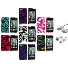 For iPod Touch 4th Gen 4G 4 Zebra Design Hard Case Cover+USB+Car Charger