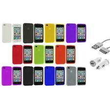 For iPhone 4 4S 4G Color Silicone Rubber Case Cover Accessory+USB+Car Charger