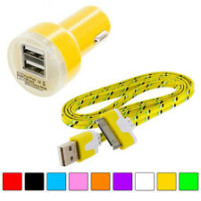 Noodle Rope Braided USB Sync Data Cable 3FT+Car Charger 2.1A Power for iPhone