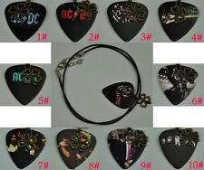 Rock Band ACDC AC/DC Guitar Pick Four-leaf Clover Lucky Leather Cord Necklace