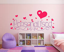 Hearts & Bird with Personalised name or text. Wall or Window decal sticker art.