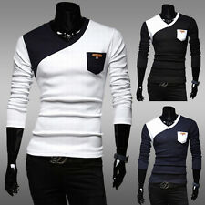 Men's Classic Hit Color Bottoming Shirt Slim Fit V-neck Long-sleeved T-shirt