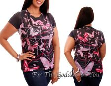 T140 RHINESTONE PINK BUTTERFLY SUBLIMATION T- SHIRT WOMENS SIZE S M L
