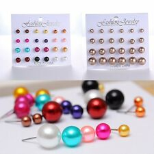 New Jewelry 12Pair Set Faux Pearl Round Silver Stud Earrings SZ6mm 8mm 10mm 12mm