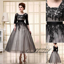 Black Tea Length Lace Mother of the Bride Dresses with Sleeves Party Prom Gowns