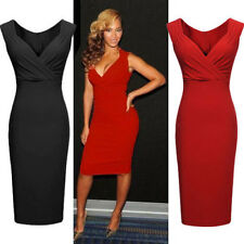V-Neck Bodycon Cocktail Party Womens Ladies Sexy Evening Slim Dresses Black Red