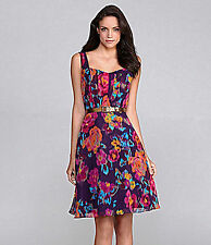 Tahari Nathanlee Flared Belted Floral-Print Dress