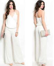 Women jumpsuit white pearl neck palazzo pant wide legs romper jumper outfit