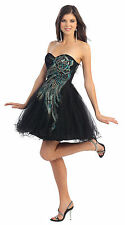 Prom Short Peacock Feather Design Hand Beaded Tulle Sassy Birthday Party Dress