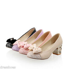 Womens Bridal Wedding Sequin Shoes Mid Heel Synthetic Leather Pumps AU Size D718