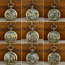 Retro Bronze Animals Pendant Quartz Pocket Necklace Gift Watch Vintage Steampunk