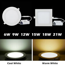 Dimmable Bombillas 6W 9W 12W 15W 18W Led Panel Light Recessed Ceiling Downlights