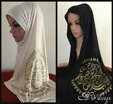 """**100% COTTON JERSEY**Scarf/ Hijab with Arabic Calligraphy """"Medalyon"""" 160x50cm"""
