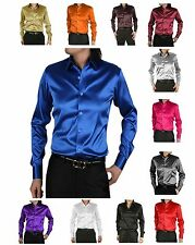 Designer SHIRT SHIRT Satin Shiny Shiny Slim Fit Fitted Wedding 18 COLORS