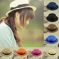 Women Lady Sun Summer Straw Hat Bowknot Beach Cap Ribbon Band Fedora Panama NEW