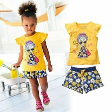 Baby Kids Girl Fancy Summer Flower Printed Top+Pants Outfit Cloth Set 12M-5Yrs