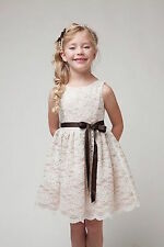 GORGEOUS LACE BODICE DRESS FLOWER GIRL EASTER CHRISTMAS SPECIAL HOLIDAY KCJ1227